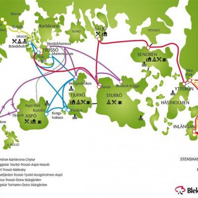 Szkic tras morskich ��cz�cych wyspy archipelagu Blekinge