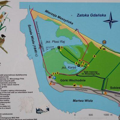 Mapa rezerwatu Ptasi Raj
