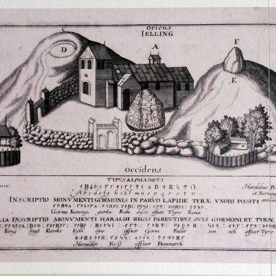 Rycina Henrika Rantzau z 1591 r. przedstawiająca kopce, kościół i kamieńruniczny Haralda.